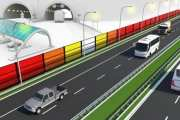 Start of test with solar energy generating noise barriers alongside highway