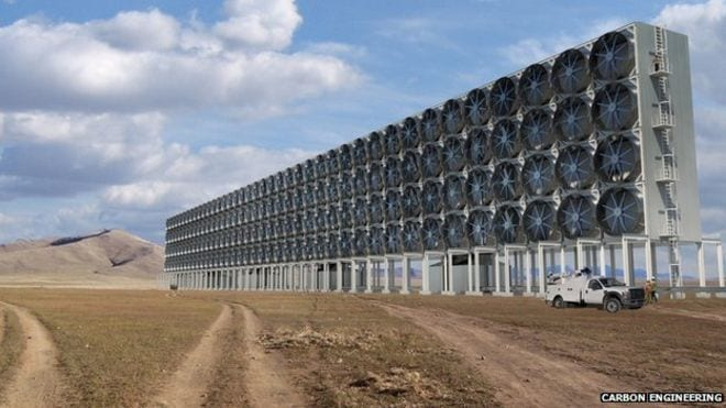 How a large-scale carbon dioxide capture plant might look - via BBC