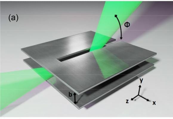 Covering all the angles Terahertz waves leak out of a small slit in the antenna at different angles, depending on frequency. The receiver can be tuned to select one angle, plucking a single data channel from a stream containing many channels. Mittleman lab/Brown University