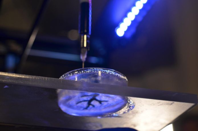 This is a coronary artery structure being 3-D bioprinted. CREDIT Carnegie Mellon University College of Engineering