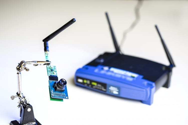 The UW team used ambient signals from this Wi-Fi router to power sensors in a low-resolution camera and other devices.Dennis Wise/ University of Washington