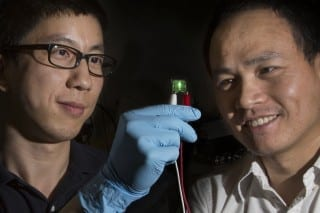 Bruce Palmer/Florida State University Assistant Professor of Physics Hanwei Gao and Associate Professor of Chemical Engineering Biwu Ma examine their LED material.