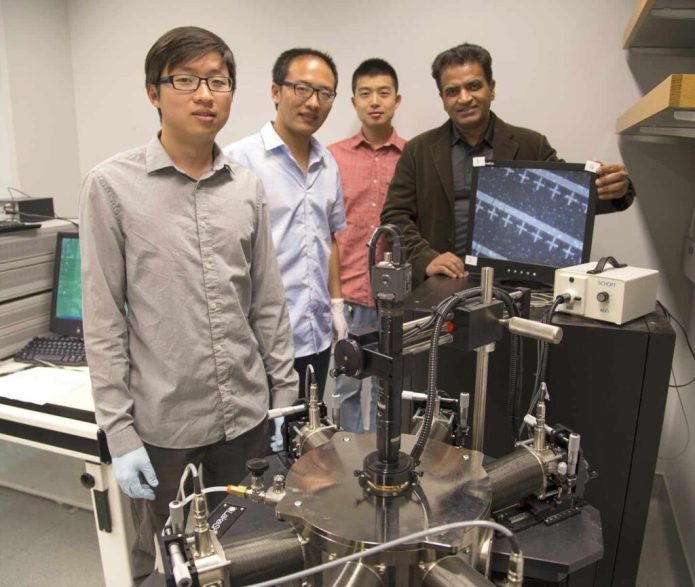 Professor Kaustav Banerjee (right) with researchers in his Nanoelectronics Research Lab at UC Santa Barbara. CREDIT UCSB