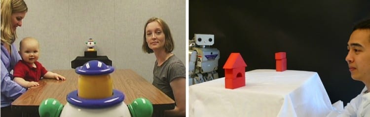 "A collaboration between UW developmental psychologists and computer scientists aims to enable robots to learn in the same way that children naturally do. The team used research on how babies follow an adult's gaze to ""teach"" a robot to perform the same task.University of Washington"