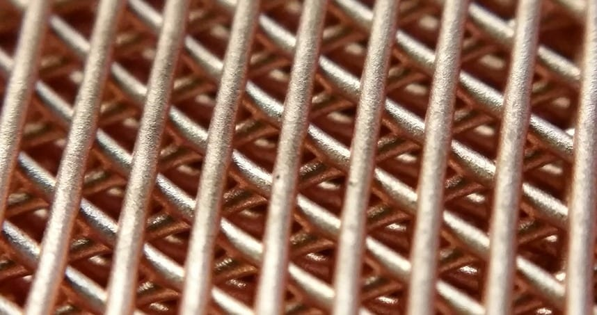 A copper lattice structure created with Northwestern Engineering's new 3-D printing process