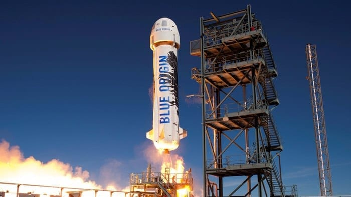 The New Shepard rocket was the same one used in Blue Origin's first powered landing flight in November (Credit: Blue Origin)