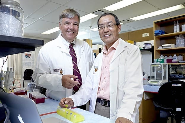 Associate professor Bruno Salena and professor Yingfu Li in the lab via McMaster University