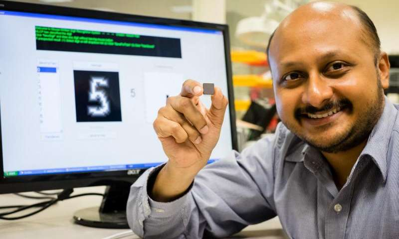 NTU's low powered smart chip which recognises patterns and is the size of a Singapore 5 cent coin