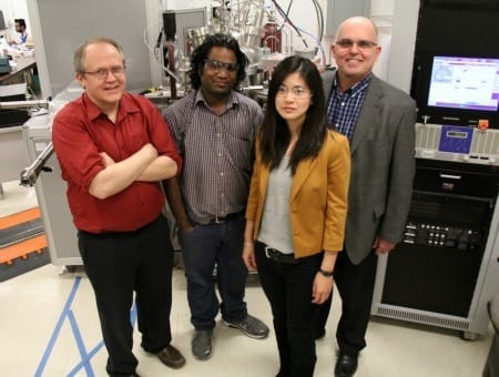 UAlberta electrical engineering PhD student Gem Shoute (second from right) is the lead author on a research paper demonstrating a powerful new flexible transistor. The team: electrical engineering professor Doug Barlage, Triranta Muneshwar, Shoute and materials engineering professor Ken Cadien, published its work in Nature Communications.
