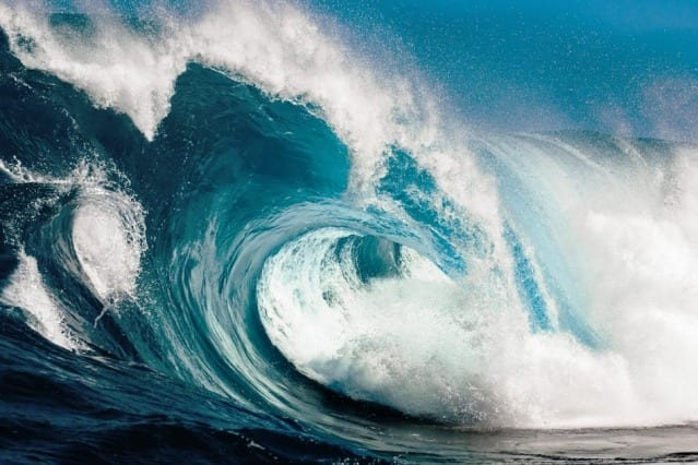 """""""These waves really talk to each other,"""" Themis Sapsis says. """"They interact and exchange energy. It's not just bad luck. It's the dynamics that create this phenomenon."""" Image: MIT News"""