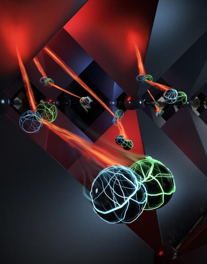 Depiction of photon recycling inside the crystalline structure of perovskite. CREDIT Criss Hohmann