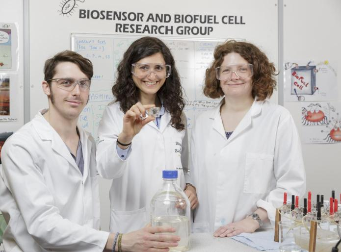 (Left to right): Ph.D. student Jon Chouler; Senior Lecturer in the Department of Chemical Engineering, Dr. Mirella Di Lorenzo; Senior Lecturer in the Department of Chemistry, Dr. Petra Cameron. CREDIT Tim Gander
