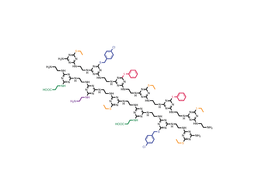 Plastic proteins: Unique sequences of side chains (in various colors) hang off the TZP-based backbone (black) in this inexpensive, easy-to-synthesize polymer system that mimics proteins in important ways.