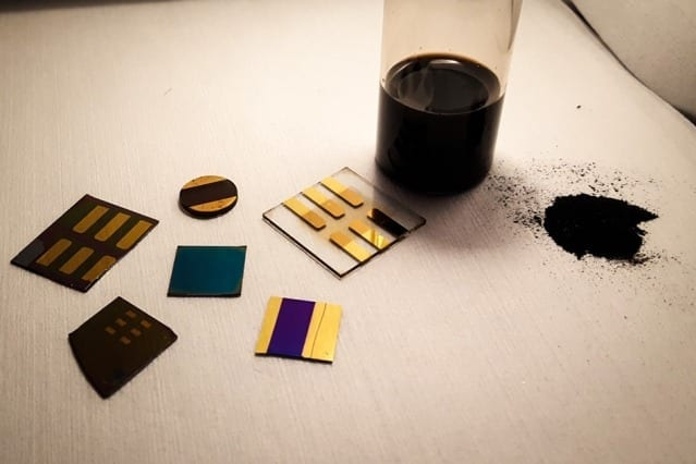 """""""When you look at coal as a material, and not just as something to burn, the chemistry is extremely rich,"""" says Jeffrey Grossman. In this photo, a sample of pulverized coal (right) is shown with several test devices made from coal by the MIT researchers. Photo courtesy of the researchers"""