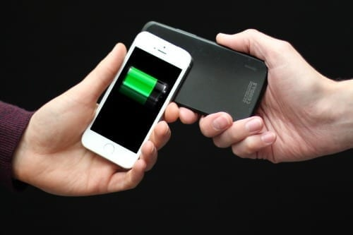 PowerShake enables power transfer interactions on mobile devices. As battery depletes it can be transferred from other devices, allowing ongoing usage University of Bristol