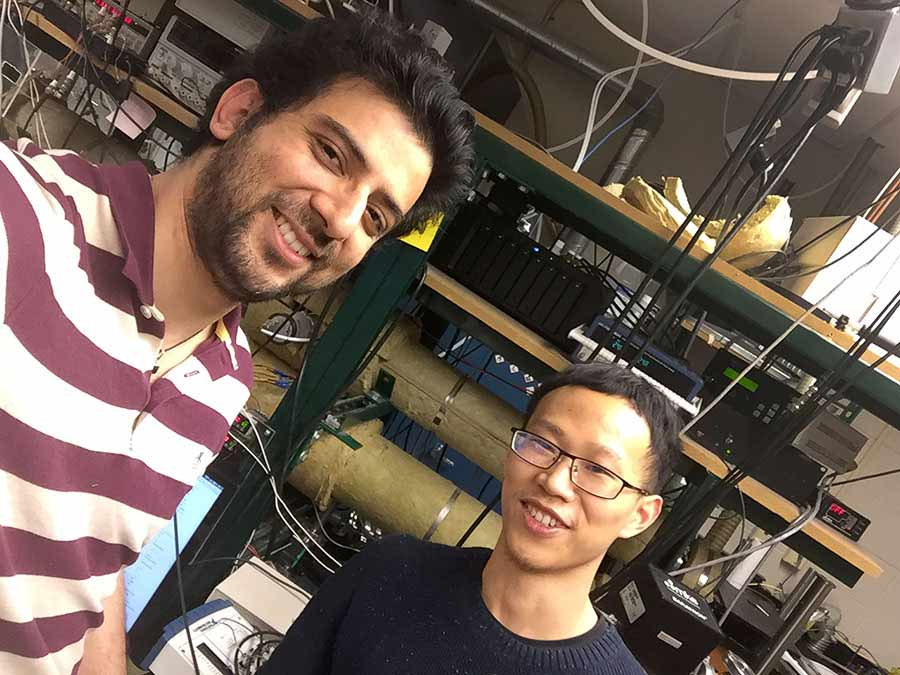 Dr. Navneet Sharma (left) and Qian Zhong of UT Dallas are part of a research team working to create an affordable electronic nose that can improve breath analysis. Sharma is the lead author of a new study that reveals the benefits of using CMOS integrated circuits technology in the device.