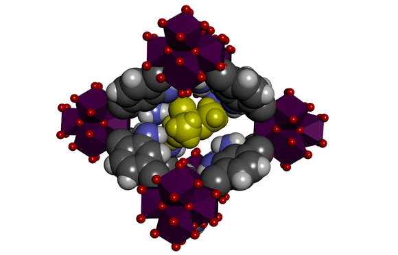 The MOF used in this study consists of organic molecules (in grey and black) and metal ions (zirconium, in purple). Between these molecules are little holes that can absorb the phosphanates (in yellow). © KU Leuven - Centre for Surface Chemistry & Catalysis