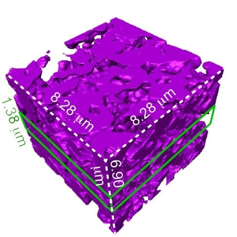 A transmission X-ray microscopy 3-D data set of one region of a mesostructured silicon particle, suggesting spongy structures. The purple square measures 8.28 microns along the top edges, which is much less than the width of a human hair.Courtesy ofTian Lab