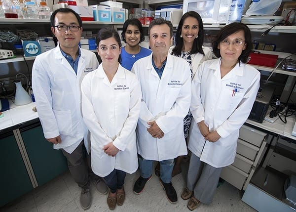 Dr. Didier Merlin (front row, center) and colleagues with VA and the Institute for Biomedical Sciences at Georgia State University are exploring the use of edible ginger-derived nanoparticles to treat inflammatory bowel disease. (Photo by Lisa Pessin)