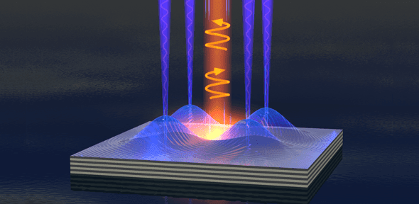 Polariton fluid emits clockwise or anticlockwise spin light by applying electric fields to a semiconductor chip. Credit: Alexander Dreismann