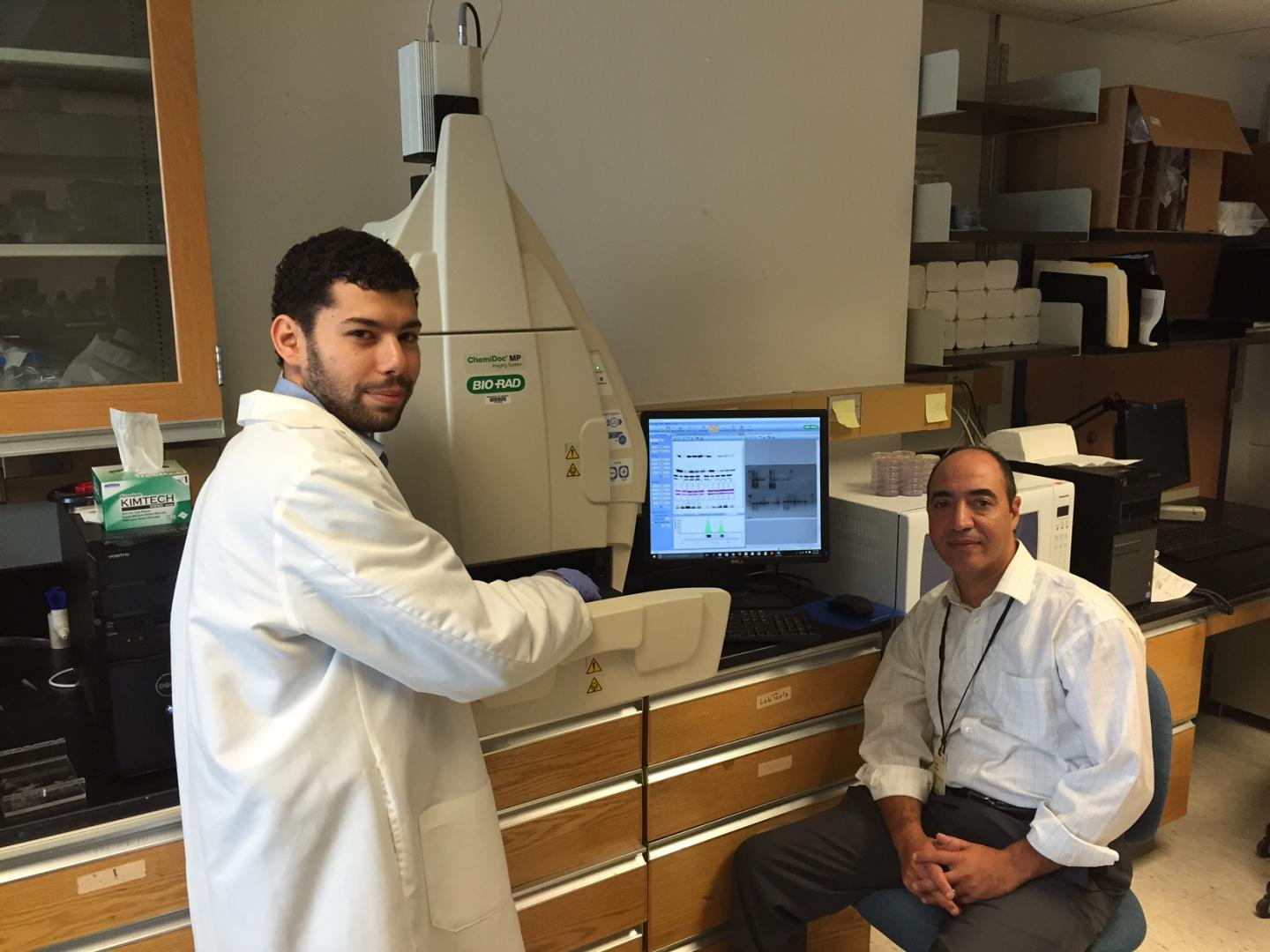 UVA researchers Mouadh Benamar (left) and Tarek Abbas, Ph.D., have discovered how the drug pevonedistat works, and their findings suggest it could be effective against an array of cancers. CREDIT Josh Barney | UVA Health System