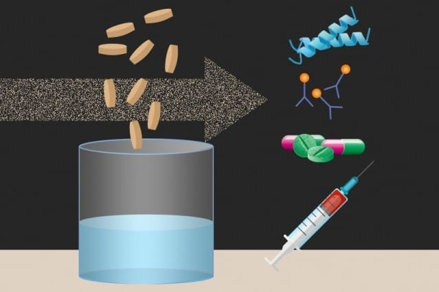 Researchers at MIT and other institutions have created tiny freeze-dried pellets that include all of the molecular machinery needed to translate DNA into proteins, which could form the basis for on-demand production of drugs and vaccines. Image: Christine Daniloff/MIT. Antimicrobial peptide illustration by Ymahn/Wikimedia Commons.