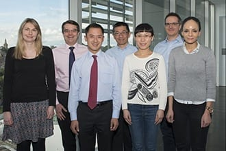 L-R: Dr Gemma Kelly, Professor Andrew Roberts, Dr Andrew Wei, Professor David Huang, Dr Jianan Gong, Associate Professor Guillaume Lessene, Dr Donia Moujalled,