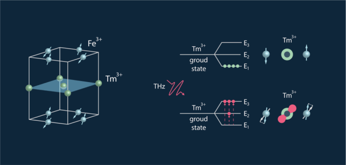 The figure shows the spin and lattice structure of thulium orthoferrite (TmFeO?) on the left and the T-ray-induced transitions between the energy levels of thulium ions (Tm³?), which trigger coherent spin dynamics (memory switching), on the right.