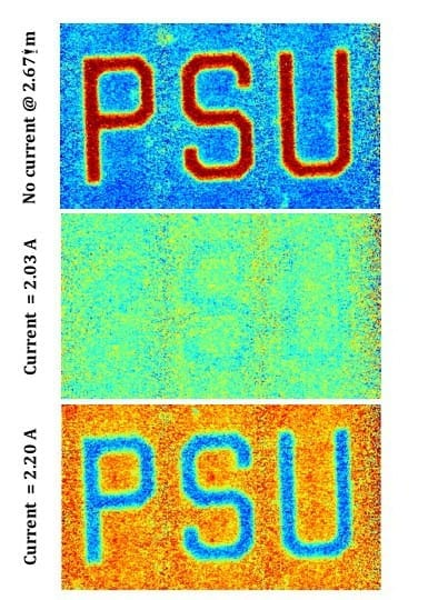 Infrared image of metadevice composed of vanadium dioxide with gold patterned mesh. (Top) Device without any electric current showing the PSU cut from the pattern and reflective. (Middle) Device with 2.03 amps of current. The PSU and background now appear the same, the PSU has faded into the background. (Bottom) Device with 2.20 amps of current. The background is now reflective while the PSU is not. Image: Douglas Werner / Penn State
