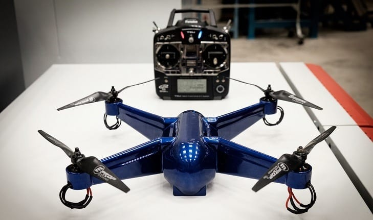 First fully functional quadcopter 3D printed in ULTEMTM 9085 aerospace-grade material with electronics embedded was created in a single production step