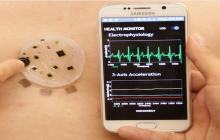 Electronic skin tracks heart rate, respiration, muscle movement and other health data, and transmits it to a smartphone