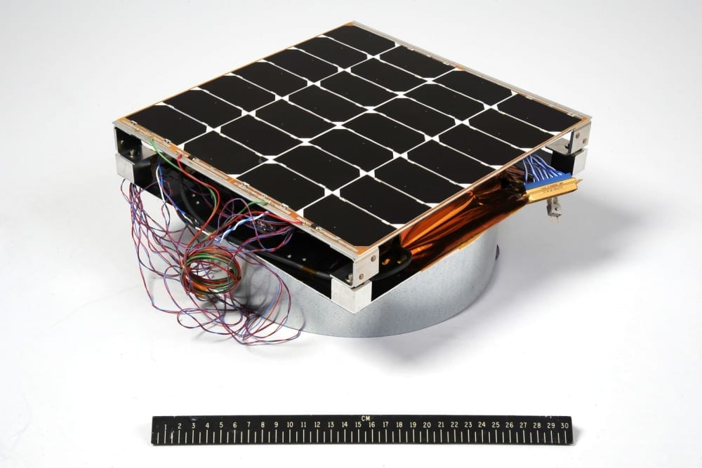 Image of the Photovoltaic Radio-frequency Antenna Module (PRAM) with a 12-inch ruler for scale. The hardware is the first orbital experiment designed to convert sunlight for microwave power transmission for solar power satellites.