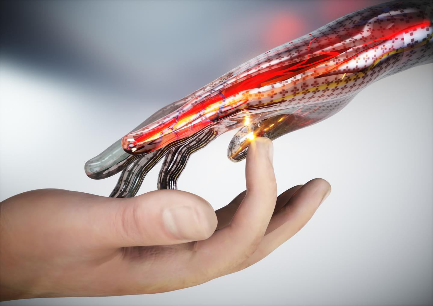 A concept image of electronic skin that can sense touch, pain, and heat. CREDIT Ella Maru Studio