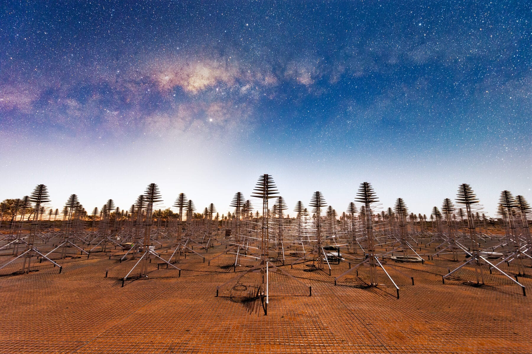 A 20-second exposure showing the Milky Way overhead the AAVS station. Credit: Michael Goh and ICRAR/Curtin.