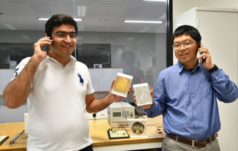 PhD candidate Mohammad Khorsand and Professor Youhong Tang with the TENG prototype at Flinders University, Tonsley Innovation District.