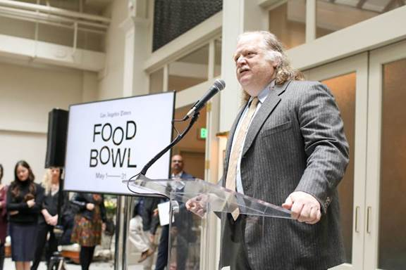 Los Angeles Times' Pulitzer Prize-winning critic Jonathan Gold speaks at the launch event for Food Bowl on February 7th in downtown LA