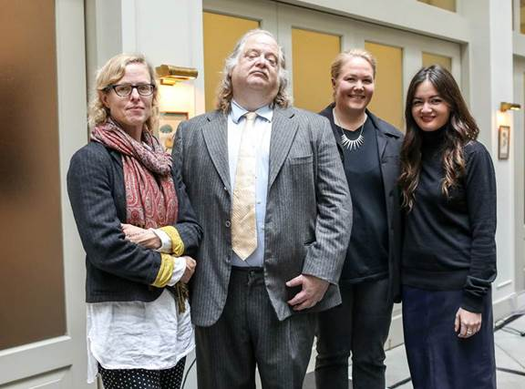 (From left to right) LA Times Food editor Amy Scattergood, critic Jonathan Gold, Test Kitchen director Noelle Carter and deputy editor Jenn Harris attend the launch event for Food Bowl on February 7th in downtown LA