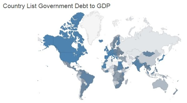 debt to gdp global map