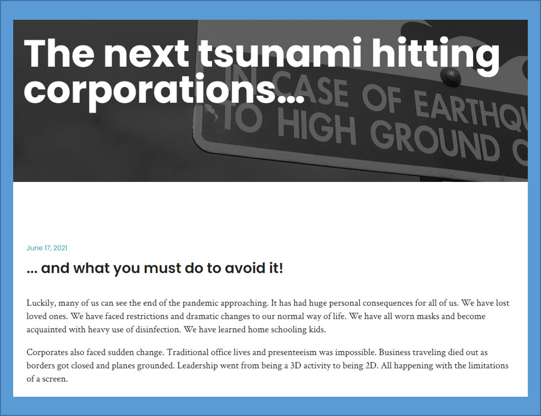 Article: The next tsunami hitting corporations…