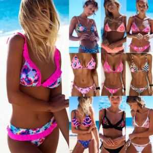 2018 New Flower Bikinis Set Combinatorial Set Sexy Women Swimwear Push Up Padded Neon Bandage Swimsuits Innrech Market.com