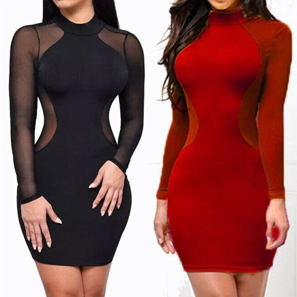 2018 New Women Sexy Skinny Bodycon Long Sleeve Sheer See Through Party Slim Club Wear Casual 1 2018 New Women Sexy Skinny Bodycon Long Sleeve Sheer See Through Party Slim Club Wear Casual Short Mini Dress