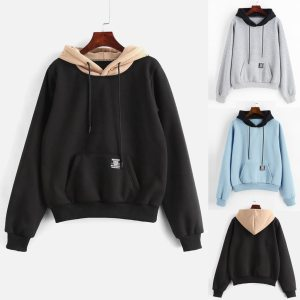 2019 New Women Hoodies Sweatshirts Women Long Sleeve Pocket Patchwork Pullover Strappy Hoodie Sweatshirt Blouse Top Innrech Market.com