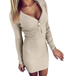Above Knee Dress Fashion Women AutumnSexy Solid V Neck Dresses Long Zipper Long Sleeve Tight Winter Innrech Market.com