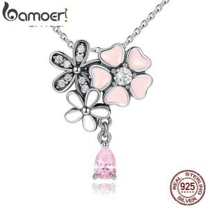 BAMOER Original 925 Sterling Silver Pink Heart Blossom Cherry Flower Pendants Necklaces Women 45CM Kolye Jewelry Innrech Market.com