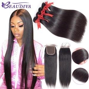 BEAUDIVA Human Hair Bundles With Closure Natural Color Peruvian Straight Hair Weave Bundles With Closure Innrech Market.com