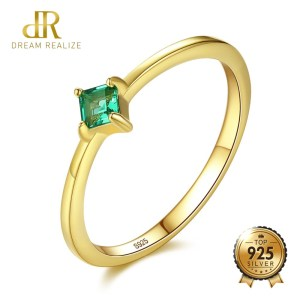 DR Square Shape VVS Emerald Green Rings for Women Real 925 Sterling Silver Gold Color Finger Innrech Market.com