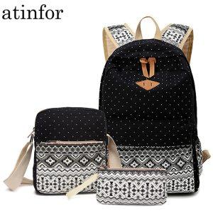 Dot Canvas Printing Backpack Women School Back Bags for Teenage Girls Cute Black Set Travel Backpacks Innrech Market.com