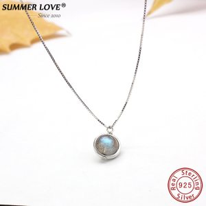 Genuine S925 Sterling Silver Labradorite Pendant Necklace For Women Fine Jewelry Nature Gemstone Handmade bijoux femme Innrech Market.com
