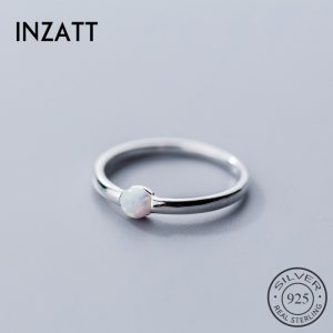 INZATT Genuine 925 Sterling Silver Color Round Opal Ring For Women Party Classic Minimalist Fine Jewelry Innrech Market.com