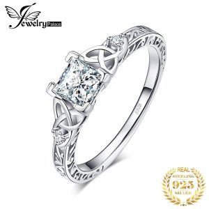JPalace Celtic Knot Princess CZ Engagement Ring 925 Sterling Silver Rings for Women Anniversary Wedding Rings Innrech Market.com